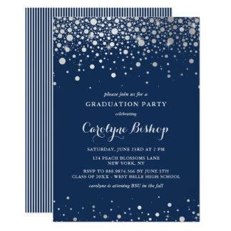 Convite de prata da graduação do marinho dos