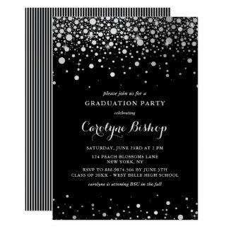 Convite de prata da graduação do preto dos