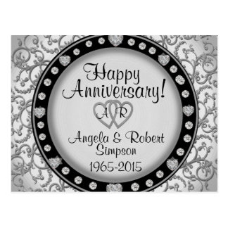 Convite de prata do aniversário do monograma | do