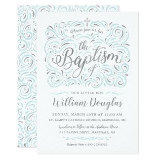 Convite de prata do baptismo do menino do falso