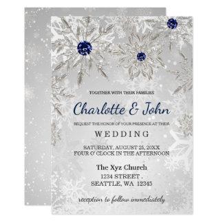 Cartão convite de prata do casamento no inverno dos