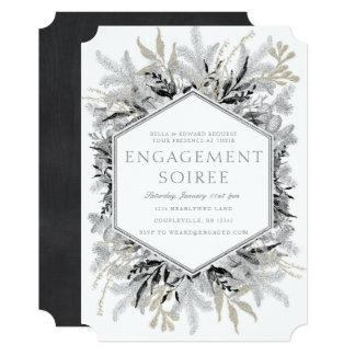 Convite de prata do noivado do inverno