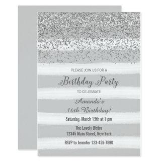 Convite de prata e cinzento do aniversário da