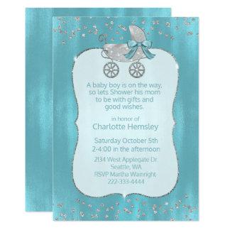 Convite de prata Glam do chá de fraldas do Pram
