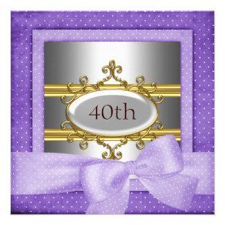 Convite de prata roxo do quadro da festa de aniver