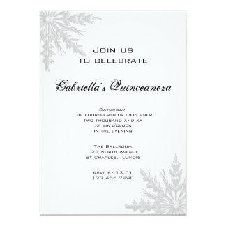 Convite de Quinceanera do floco de neve do inverno