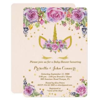 Convite de Unicorm do chá de fraldas, rosa, flores