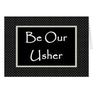 Convite de USHER com beira verificada Cartão Comemorativo