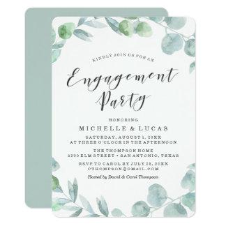 Convite delicado da festa de noivado da grinalda |