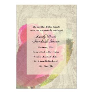 Convite desvanecido do casamento do pergaminho do