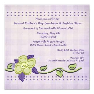 Convite do almoço do dia das mães da pervinca convite quadrado 13.35 x 13.35cm