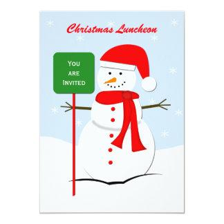 Convite do almoço do Natal -- Boneco de neve