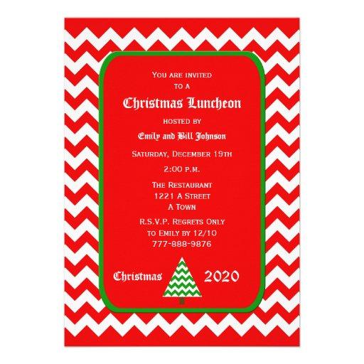 Convite do almoço do Natal -- Chevron vermelho