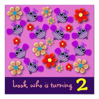 Convite do aniversário: Abelhas & flores B