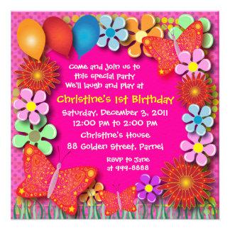 Convite do aniversário: borboletas 003B e flores