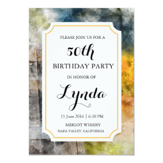 Cartão Convite do aniversário da aguarela da adega ou do