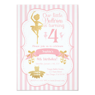 Convite do aniversário da bailarina no rosa e no