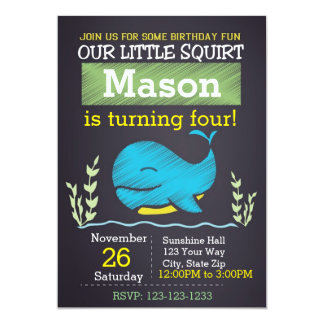 Convite do aniversário da baleia (menino)