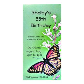 Convite do aniversário da borboleta cartão com foto