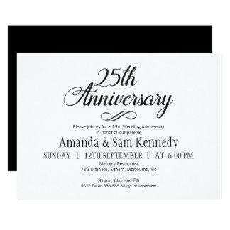 Convite do aniversário da caligrafia simples 25o
