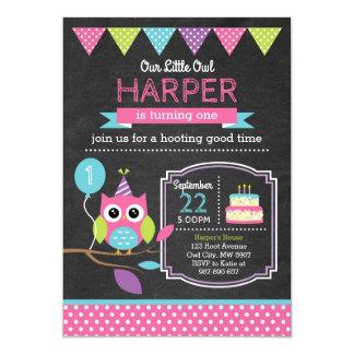 Convite do aniversário da coruja