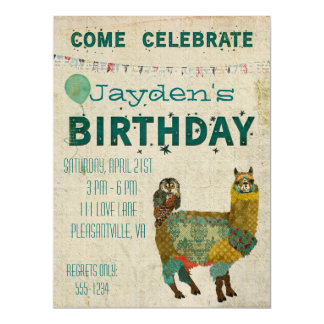 Convite do aniversário da coruja da cerceta da convite 16.51 x 22.22cm