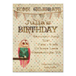 Convite do aniversário da coruja de Rosa Convite 13.97 X 19.05cm