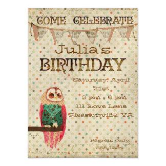 Convite do aniversário da coruja de Rosa