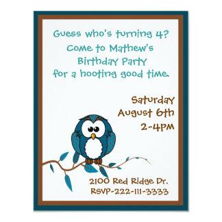 Convite do aniversário da coruja dos desenhos