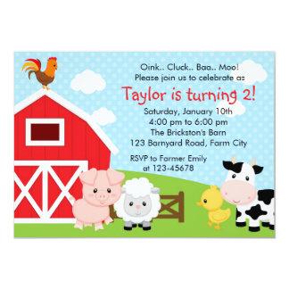 Convite do aniversário da fazenda - menino (azul)