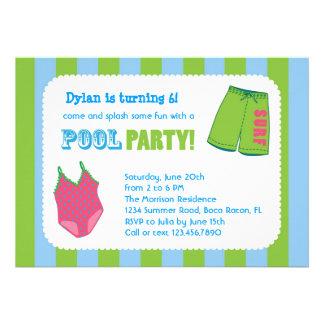 Convite do aniversário da festa na piscina