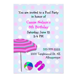 Convite do aniversário da festa na piscina da meni