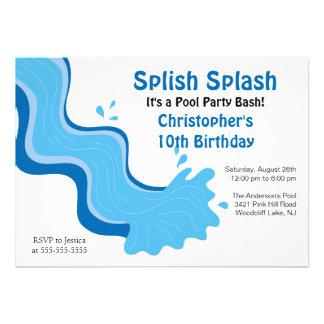 Convite do aniversário da festa na piscina do resp