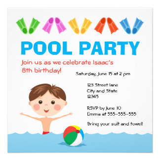 Convite do aniversário da festa na piscina dos men