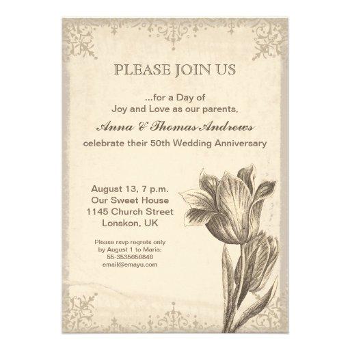 convite do aniversário da flor da tulipa do vintag