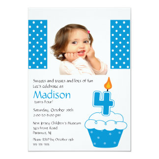 Convite do aniversário da foto azul do cupcake 4o convite 12.7 x 17.78cm