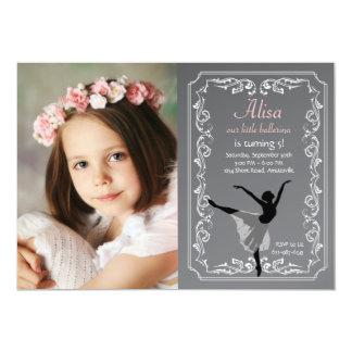 Convite do aniversário da foto da bailarina do