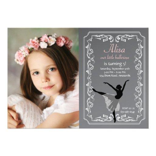 Convite do aniversário da foto da bailarina do qua
