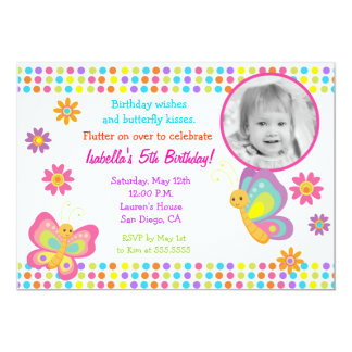 Convite do aniversário da foto da borboleta