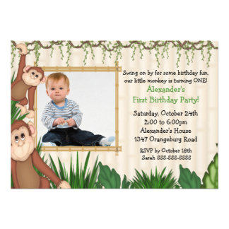 Convite do aniversário da foto do macaco da selva