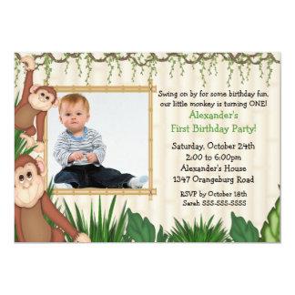 Convite do aniversário da foto do macaco da selva convite 12.7 x 17.78cm
