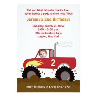 Convite do aniversário da foto do monster truck convite 12.7 x 17.78cm