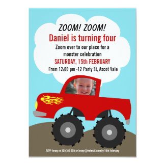 Convite do aniversário da foto do monster truck convite 11.30 x 15.87cm