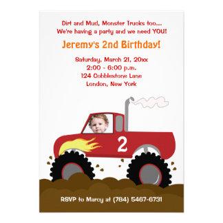 Convite do aniversário da foto do monster truck v