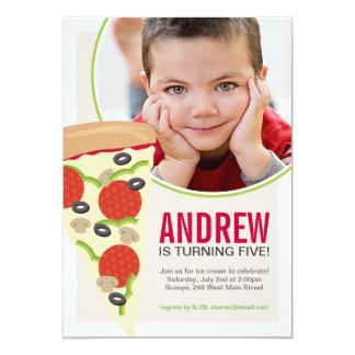 Convite do aniversário da foto do partido da pizza
