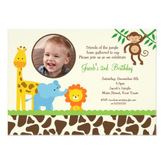 Convite do aniversário da foto do safari de selva