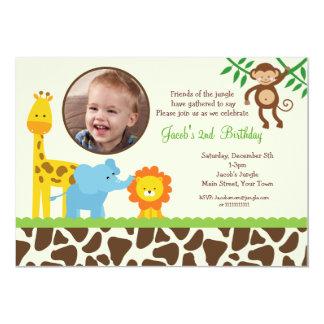 Convite do aniversário da foto do safari de selva convite 12.7 x 17.78cm