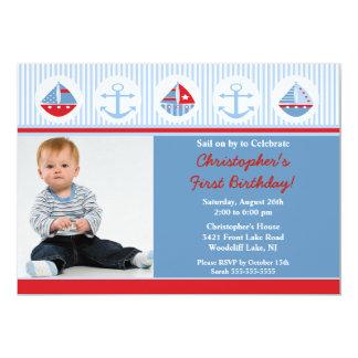 Convite do aniversário da foto do veleiro