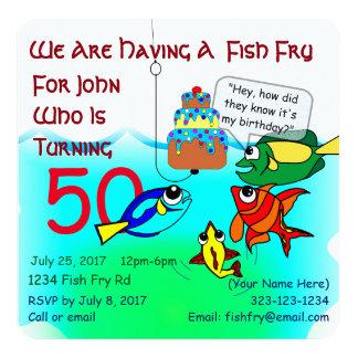 Convite do aniversário da fritada de peixes dos