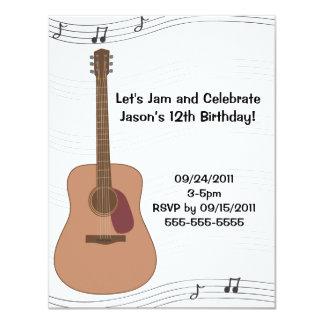 Convite do aniversário da ilustração da guitarra